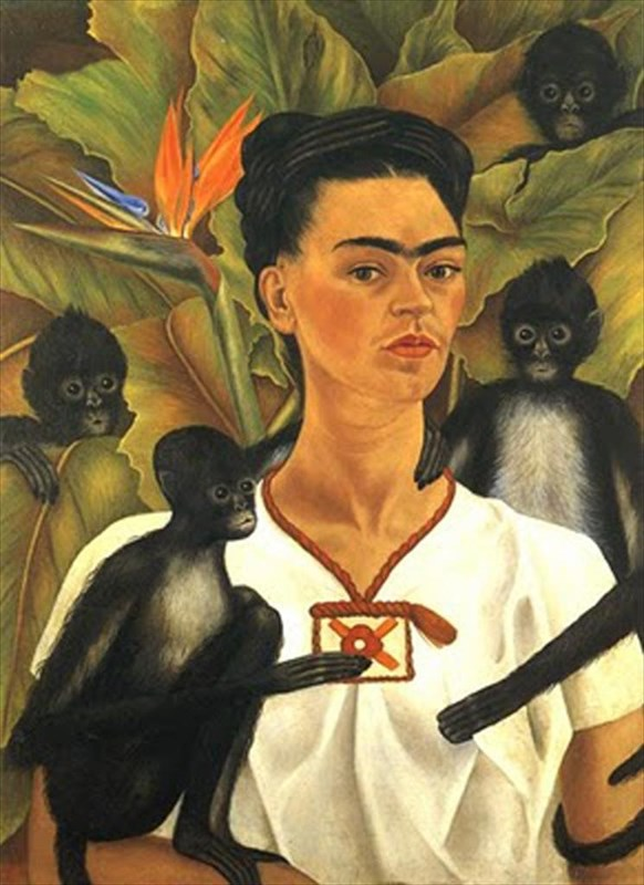 Frida Kahlo, Self portrait with monkeys, 1943